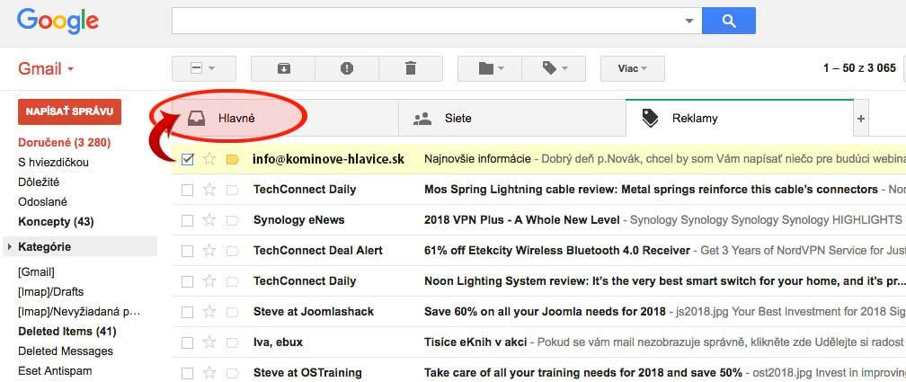 postup pri Gmaile