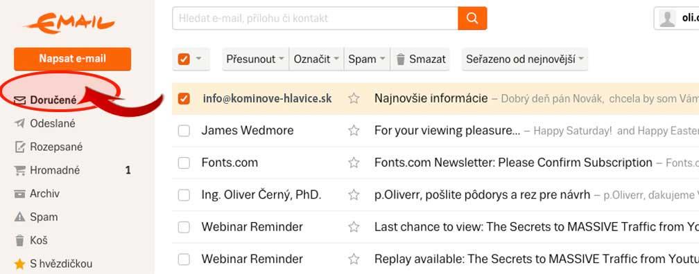 postup pri emaile Seznam.cz